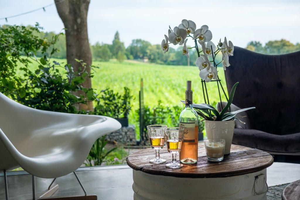 Blick von der Chillout-Area ins Grüne. Auf dem kleinen runden Tisch im Vordergrund steht eine Orchidee, eine Flasche Rosewein und zwei halb gefüllte Weingläser.